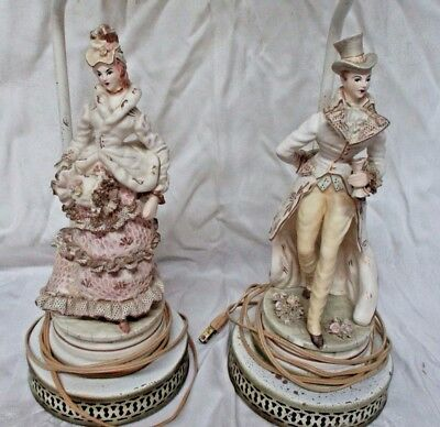 Antique Pair of Porcelain Victorian Style Lamps Metal Base Cream Color & Gold