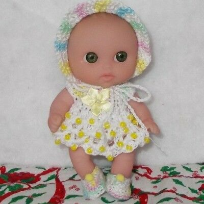 "HAND CROCHETED DOLL CLOTHES/fits 5"" BERENGUER LIL CUTESIES/BEADED WHITE/PASTELS"