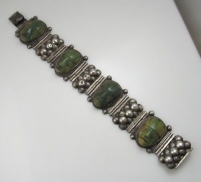 Nice Old Carved Green Stone Face Bracelet Mexico Sterling Silver