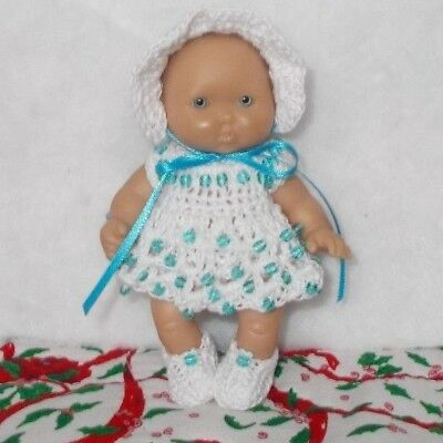 "Hand Crocheted Doll Clothes Fits 5"" Berenguer/ Beaded White"