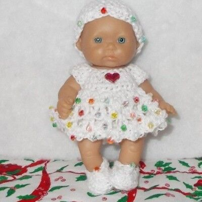 "Hand Crocheted Doll Clothes Fits 5"" Berenguer/ Beaded Pearl White"
