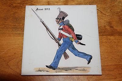 """NIVAA DANMARK 6"""" Tile - Hand Painted Army Figure from 1842 - Surface Crack"""