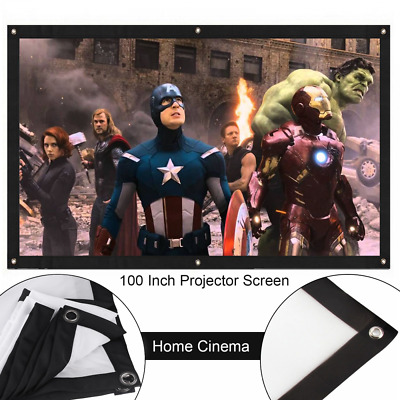 "100"" Inch 16:9 Front & Back Rear Projection Screen Curtains Film for Projectors"