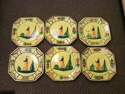 "6  HB Henriot  Quimper Soleil Yellow (Woman) 10"" Dinner Plates  *Free S&H*"