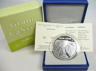 "Frankreich 2008: 1,5 Euro UNESCO ""Grand Canyon"" Silber PP proof"
