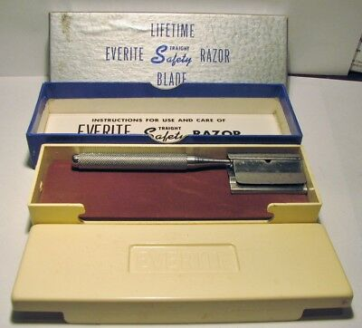 Vintage EVERITE Straight Safety Razor in Box With Papers & Travel Case