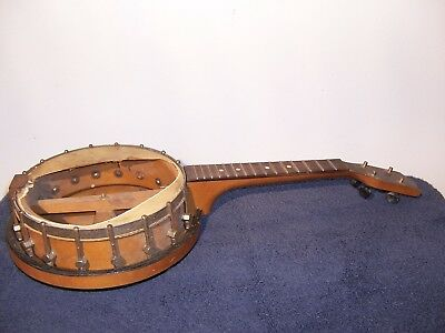 old antique vintage WOOD 4 STRING BANJO for parts or restoration project maple
