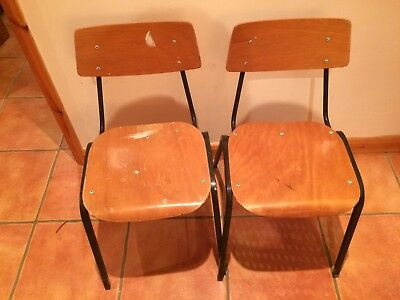 2 x Industrial Vintage Stacking Childrens School Chairs Wooden Metal