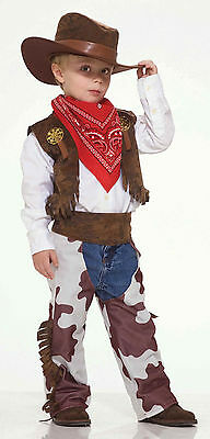 Toddler Cowboy Kid Child Costume Boys Cowboy Chaps Vest Hat Bandana Size 2T-3T