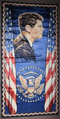 "1960s JFK President John F Kennedy Tapestry Rug Wall Hanging 20"" x 39"" Italy #7"