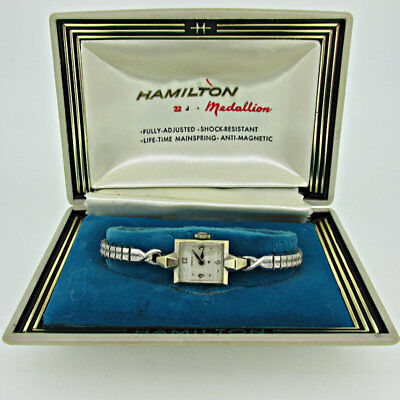 Vintage Hamilton 769 Swiss 17j 14k Solid White Gold Watch with Original Box