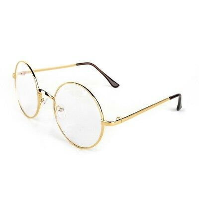 Lennon Round Large Metal Frame Clear Lens Eye Glasses Gold Wire Santa Costume