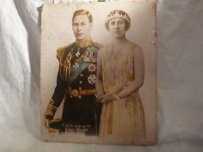 8 x 10 very old color picture of king george & queen elizabeth 9 hand colored ]