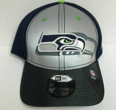 2eaecc1a1 Seattle Seahawks New Era 39Thirty Stretch Fit Fitted Hat Flashed Front Neo  NFL