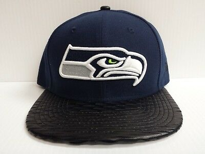 Seattle Seahawks New Era Gray 9Fifty Cap Flat Snapback Leather Rip Hat d289a16db