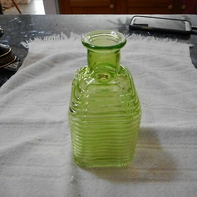 Vintage Green Depression Glass Ribbed Bottle