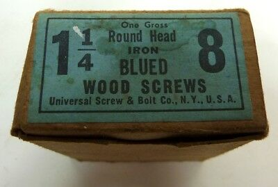 Vintage Iron Blue Round Head Slotted Wood Screws 1 1/4 Length  X 8