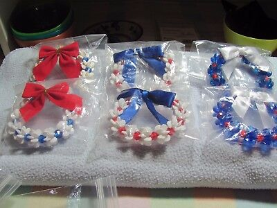 """Handcrafted Patriotic Lot of 6 Assorted Beaded Wreaths,sizes 3-4"""""""