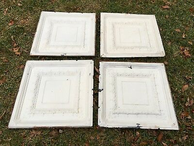 "old Antique Shabby Chic 24"" Tin Metal Square Ceiling Tile Panel flor de lis (4)"