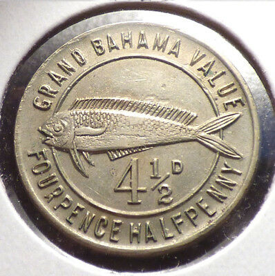 Grand Bahama Club 4 1/2 D, (Pence,), 1940's Casino Token w/ Fish
