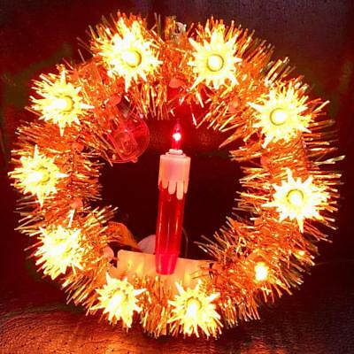 Vintage Christmas Wreath Gold W/red Candle 10 Lights + Candle Works