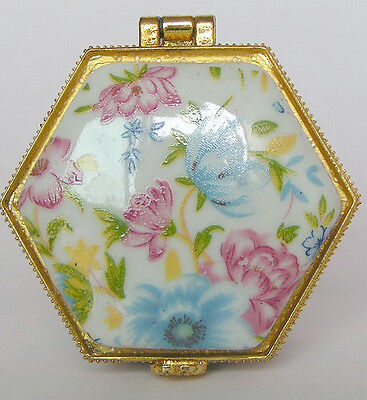 Stunning hexagon Porcelain jewelry box painted spring flowers no reserve price