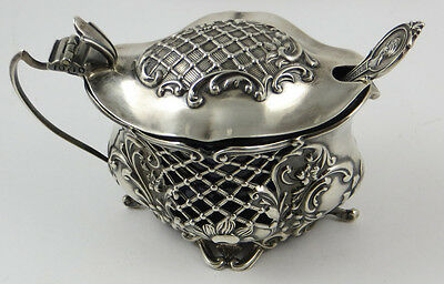 Victorian Birmingham Sterling Silver Mustard Pot With Cobalt & Spoon