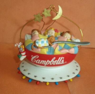 Campbell's Soup Kids Ornament - 3 Children Sleeping in Cup w/Puppy on Spoon