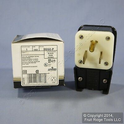 New Leviton INDUSTRIAL Straight Blade Angle Plug 5-50 50A 125V 9550-P Boxed