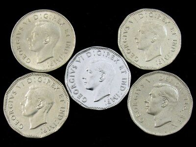 Lot of 5 Canada Nickels 1937-1950 - All BU - George VI Brilliant Uncirculated 5c