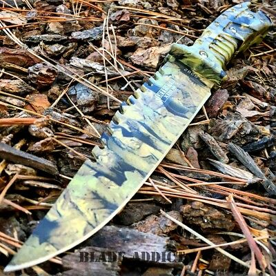"10"" FULL TANG TACTICAL SURVIVAL Rambo Hunting FIXED BLADE KNIFE Army Bowie -H"