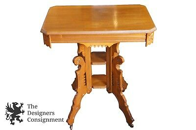 """Antique Victorian Carved Walnut Eastlake Parlor Accent Side Table 3 Tiered 28"""""""