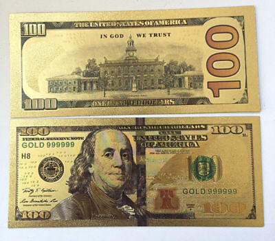 Gold Foil USA Banknote 100 Dollar Fake Currency Bills Bank Note Paper Money Gift