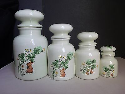 Set (4) Kitchen Canisters Pottery Spice Jar Bottle Bunny Thistle Clover Vintage