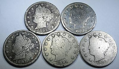 5 Consecutive 1895-1899 US Liberty V  Nickels Antique Vintage Old Currency Money
