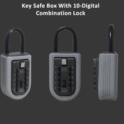 Outdoor Wall Mount 10 Digit Combination Lock High Security Key Storage Safe Box