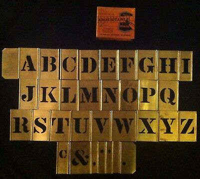 "Set of Reese's 1 1/2"" (3"") Brass Gothic Stencils Lockedge Alphabet Letters w Box"