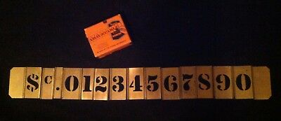 "Vtg Set of Reese's 1 1/2"" (3"") Brass Gothic Stencils Lockedge Numbers $ c in Box"