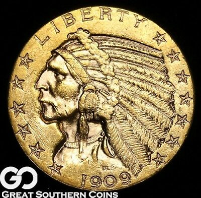 1909-D Half Eagle, $5 Gold Indian, BU++ ** Free Shipping!