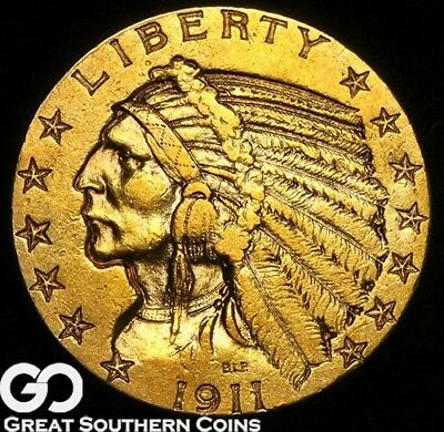 1911-S Half Eagle, $5 Gold Indian, Beautiful Rich Orange Gold Look, ** Free S/H!