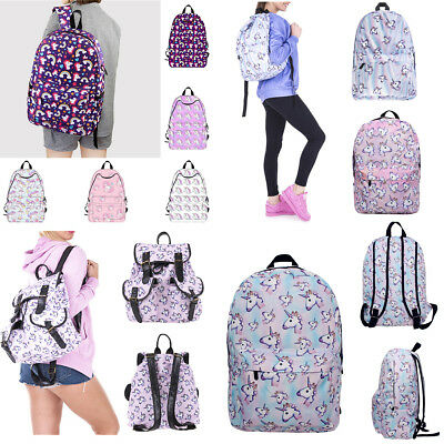 Fashion Women Unicorn Backpack Student Bags Schoolbag Travel Fantasy Rucksack