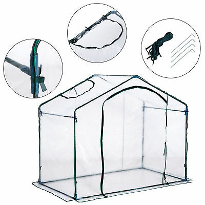 Portable Walk in Greenhouse PVC Cover Plant Gardening w/ Steel Zippered Door