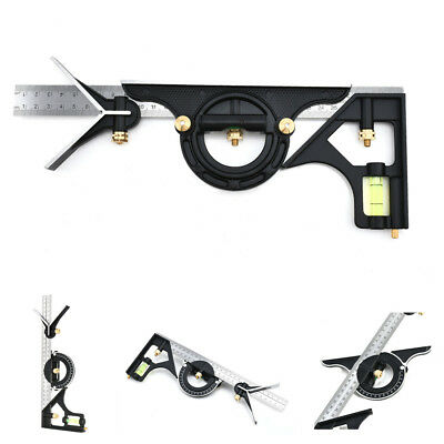 Combination Tri Square Set Angle Finder & Protractor Level Adjustable Measure U