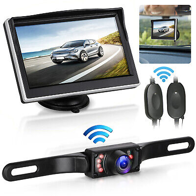 "Wireless IR Rear View Backup Camera Night Vision System +5"" Monitor For RV Truck"