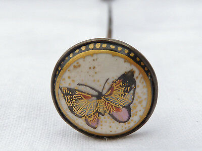 Antique Vintage Butterfly Satsuma Hat Pin Hatpin No3 Single Owner Collection