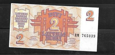 Latvia #36 1992 2 Rubli Unused Mint Old Banknote Paper Money Currency Bill Note