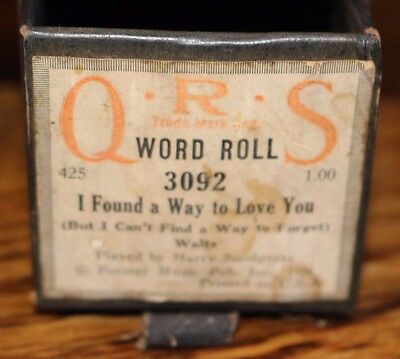 Vintage Player Piano Roll QRS 3092 I FOUND A WAY TO LOVE YOU Waltz with Box
