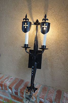 Antique French Black Wrought Iron Gothic Cross Wall Sconce Light Fixture