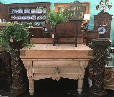 Antique French Wood Kitchen Butcher Block Island Farm Table Farmhouse oak brass