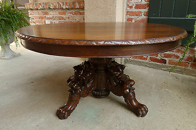 Antique French Carved Oak Hunt COFFEE TABLE Renaissance Griffin OVAL Gothic